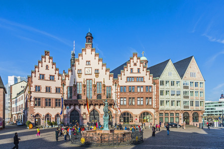 roemerberg: FRANKFURT, GERMANY - MAR 6, 2015: People on Roemerberg square in Frankfurt, Germany. Frankfurt is the fifth-largest city in Germany. Editorial