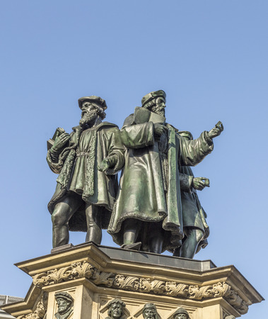 inventor: The Johannes Gutenberg monument on the southern Rossmarkt (1854 - 1858, by sculptor Eduard Schmidt von der Launitz). Johannes Gutenberg - inventor of book printing. Frankfurt am Main, Germany.