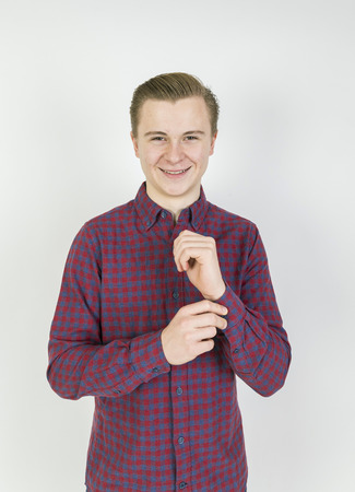 sixteen year old: portrait of cute sixteen year old boy in studio Stock Photo
