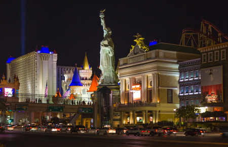 new york strip: LAS VEGAS - JULY 17, 2008: New York-New York located on the Las Vegas Strip is shown in Las Vegas. Replica of the Statue of Liberty is 150 ft (46 m) and the property opened in 1997. Editorial