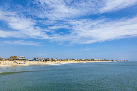 outer banks: beautiful beach at nags Head in the Outer Banks under blue sky