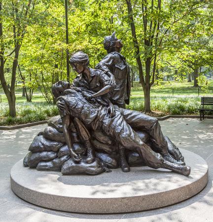 WASHINGTON, USA -JULY 14, 2010: Memorial statues to Vietnam war Women Nurse in Washington DC, USA.