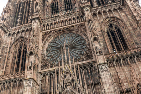strasbourg: main etrance and portal view of Cathedrale Notre-Dame de Strasbourg or Strasbourg Minster or Strasbourg Cathedral Stock Photo