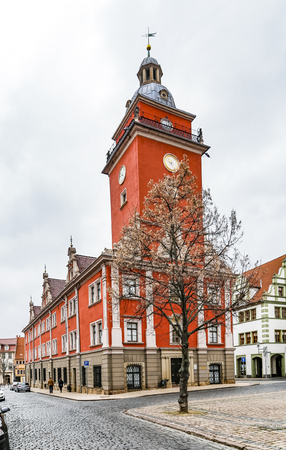 old town hall: scenic view to old town hall in Gotha. The grand renaissance building was erected between 1567 and 1574. Stock Photo