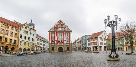 old town hall: GOTHA, GERMANY - MAR 25, 2016: scenic view to old town hall in Gotha. The grand renaissance building was erected between 1567 and 1574. Editorial