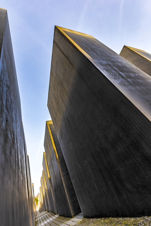 genocide: BERLIN, GERMANY - NOV 17, 2014: View of Jewish Holocaust Memorial, Berlin, Germany
