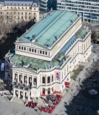 oper: FRANKFURT, GERMANY - SEP 11, 2015: aerial view: the Alte Oper (Old Opera House), in Frankfurt am Main, Germany.