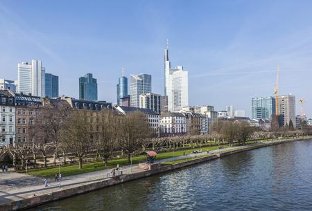river main: skyline of Frankfurt am Main  with skyscraper at river Main Stock Photo