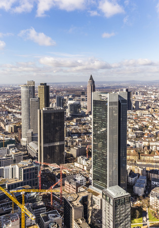 and germany: panorama of the financial district in Frankfurt, Germany Stock Photo