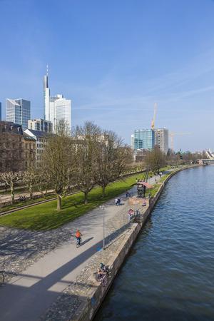 river main: skyline of Frankfurt am Main  with skyscraper at river Main Editorial