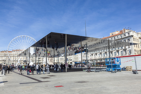 european culture: MARSEILLE, FRANCE - MAR 29, 2015: Norman Fosters pavilion in Marseille, France. Marseille is the European Capital of Culture for 2013 and aims to attract 10 million visitors in 2013. Editorial