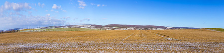 covered fields: rural landscape with snow covered fields near Bad Frankenhausen, Thuringia