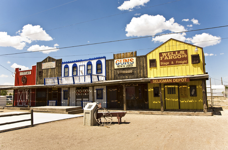 western usa: SELIGMAN, USA - JUL 8, 2008: The Historic Seligman depot in Seligman, AZ, USA on Historic Route 66. Built in 1904, today, Seligmans depot is the best original western facade all over Route 66.