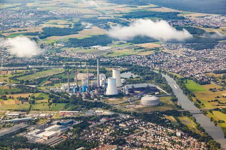 coal fired: aerial of Grosskrotzenburg power station, Main river, Germany, Hesse