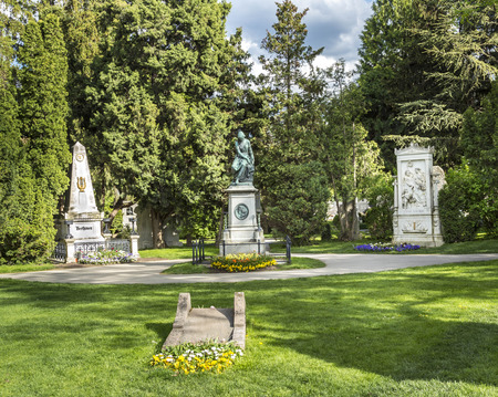 burried: VIENNA, AUSTRIA - APR 26, 2015: view to  Vienna Central Cemetery, the place where famous austrian people are burried like Schubert and Beethaven.² Editorial