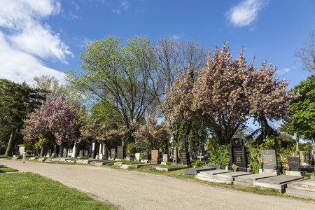 VIENNA, AUSTRIA - APR 26, 2015: view to  Vienna Central Cemetery, the place where famous austrian people are burried. The cemetery was inaugurated in 1874.