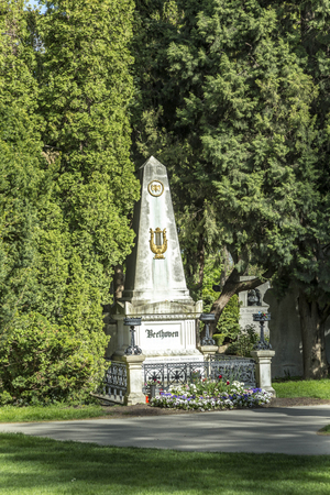 beethoven: VIENNA, AUSTRIA - APR 26, 2015: view to  Vienna Central Cemetery and the grave of Ludwig van Beethoven. Editorial
