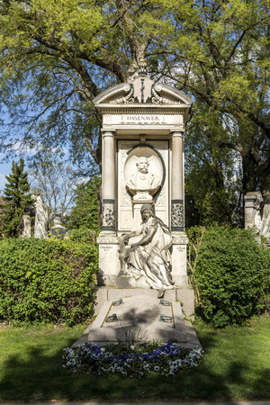burried: VIENNA, AUSTRIA - APR 26, 2015: view to  Vienna Central Cemetery, the place where famous austrian people are burried. The cemetery was inaugurated in 1874.