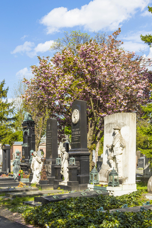 burried: VIENNA, AUSTRIA - APR 26, 2015: view to  Vienna Central Cemetery, the place where famous austrian people are burried like Strauss, Beethoven and Mozart.