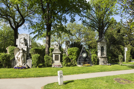 lanner: VIENNA, AUSTRIA - APR 26, 2015: view to  Vienna Central Cemetery, the place where famous austrian people are burried. The cemetery was inaugurated in 1874.