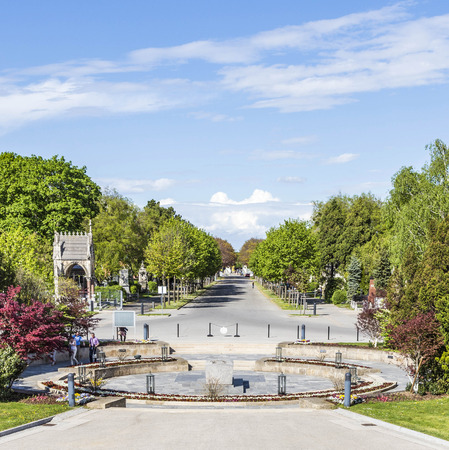 mozart: VIENNA, AUSTRIA - APR 26, 2015: view to  Vienna Central Cemetery, the place where famous austrian people are burried like Strauss, Beethoven and Mozart.