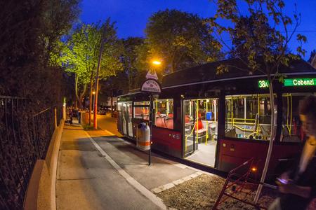 extensive: VIENNA, AUSTRIA - APR 25, 2015: bus  ride in Vienna, Austria. Vienna has an extensive train and bus network.