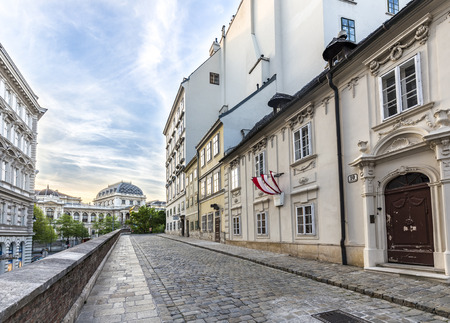 belongs: VIENNA, AUSTRIA - APR 26, 2015: typical old houses in Vienna first district in the famous area Moelker Steig. It belongs to the first district of Vienna.
