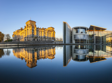 or spree: Reichstag with reflection in river Spree, Berlin Stock Photo