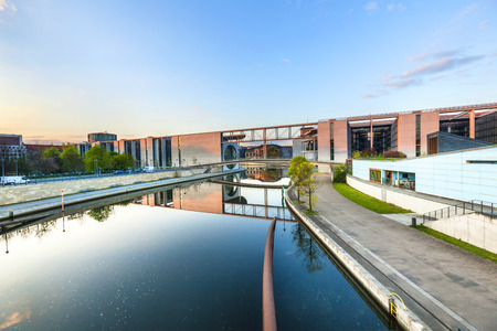 or spree: River Spree and office building of the German Parliament - Berlin, Germany Stock Photo