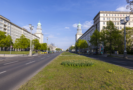 locality: BERLIN, GERMANY - MAY 1, 2015: The Frankfurter Tor (Frankfurt Gate) - is a large square in the inner city Friedrichshain locality of Berlin,  Germany Editorial