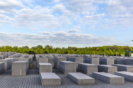murdered: BERLIN, GERMANY - MAY 3, 2015: Holocaust Memorial on Berlin, varios gray cubes to remember murdered people