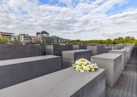 holocaust: BERLIN, GERMANY - MAY 3, 2015: Holocaust Memorial on Berlin, varios gray cubes to remember murdered people