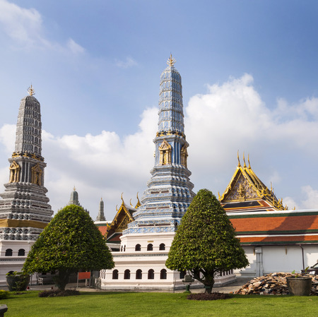 the grand palace: famous Prangs in the Grand Palace in Bangkok in the temple area of the emerald buddha