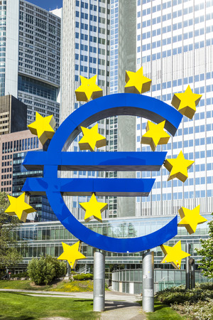 brandt: FRANKFURT AM MAIN, GERMANY - MAY 8, 2016: Euro sign in Frankfurt am Main, Germany. Frankfurt is the largest city in the German state of Hesse