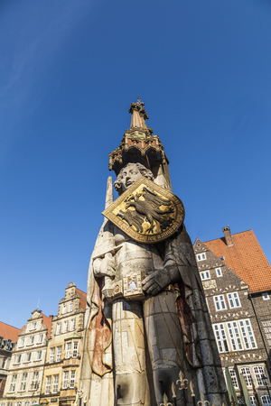 architectural tradition: famous Roland statue at market place in Bremen, Germany Stock Photo