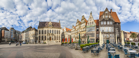 market place: BREMEN, GERMANY - MAY 12, 2016: facade of  old Guilde houses and historic half timbered houses at the market place in Bremen. In July 2004 the landmarks were listed as a UNESCO World Heritage Site. Editorial