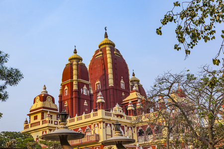 shri: Shri Digambar Jain Lal Mandir Temple in Delhi under blue sky Stock Photo