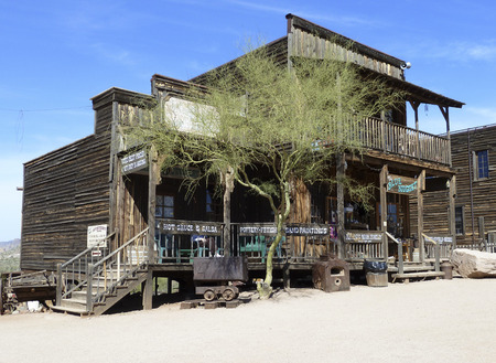 general store: GOLDFIELD GHOST TOWN, USA -  MARCH 18, 2011:An old shop  in Goldfield Ghost town, USA. vack in 1he 1890s Goldfield boasted 3 saloons, boarding house, general store, brewery and school house.