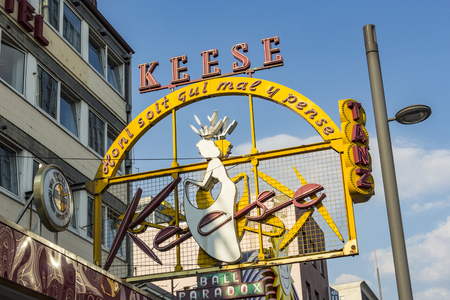 reeperbahn: HAMBURG, GERMANY - JULY 25, 2012: famous sign Cafe Keese at the Reeperbahn in Hamburg. The cafe was founded by Mr. Keese in 1948. Editorial