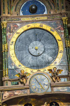 possession: STRASBOURG, FRANCE - JULY 4, 2013:  astronomical clock in the Cathedral of Strasbourg, France. It is the third clock on that spot and dates from the time of the first French possession of the city (1681–1870).