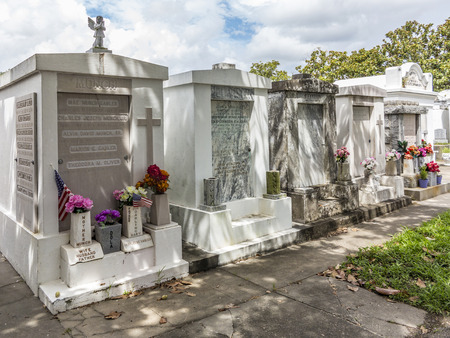 lafayette: NEW ORLEANS, USA - JULY 16, 2013: Grave site at the Saint Louis Cemetery No 1. This Lafayette cemetery is the most famous in New Orleans. Editorial