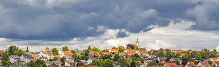 dark clouds: dark clouds over village of Schweitenkirchen
