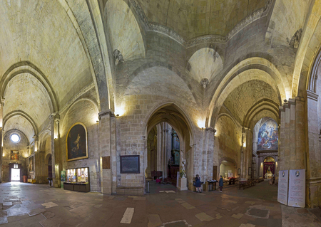 triptych: AIX EN PROVENCE, FRANCE - JULY 8, 2015: The Cathedrale Sainte Sauveur in Aix-en-Provence, France. It is built on the site of the 1st century Roman forum of Aix.
