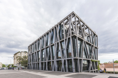 rudy: AIX EN PROVENCE, FRANCE - JUNE 2, 2016: famous pavillon de noir in Aix en Provence. The building designed by Rudy Ricciotti won the grand national prize for architecture in 2006.