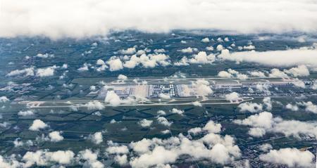 moos: aerial of Munich Airport in the erdinger moos, Germany Stock Photo
