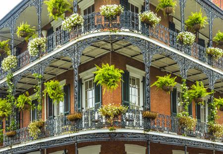oude historische New Orleans huizen in French Quarter Stockfoto