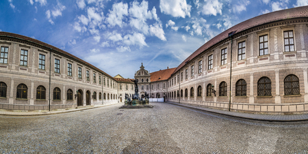 residenz: MUNICH, GERMANY - MAY 27, 2016: Historic courtyard inside the Residenz in Munich, Germany. Residenz was once the royal palace of the Bavarian monarchs.