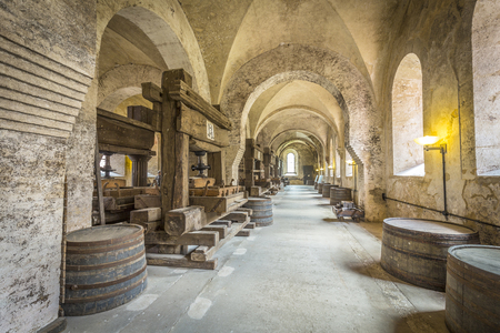 rhein: EBERBACH, GERMANY - JUNE 6, 2016: old vinery in Eberbach. The Abbey is a former Cistercian monastery near Eltville am Rhein in the Rheingau, Germany.