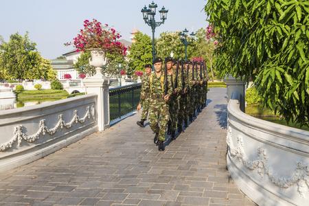 ajutthaya: Guards are changing at Bang Pa-In Palace near Bangkok, Thailand (Summer Palace of the Thai king)