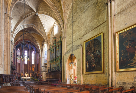 1st century: AIX EN PROVENCE, FRANCE - JULY 8, 2015: The Cathedrale Sainte Sauveur in Aix-en-Provence, France. It is built on the site of the 1st century Roman forum of Aix.